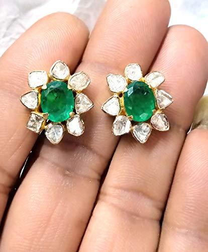 1 Pair Emerald with Rosecut Diamonds Studs Earring - 925 Sterling Silver - Polki Earrings Jewelry