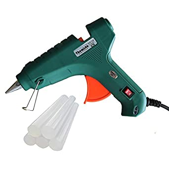 THEMISTO - built with passion 80W Hot Glue Gun with 5 Sticks with Triple Power Rapid Heating and Quick Melt (Transparent)
