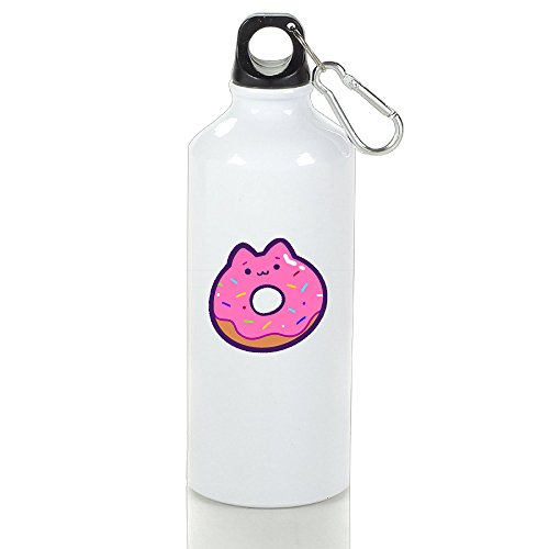 Drosp Compra Cat Donut White Aluminum Sports Water Bottle, Great For Outdoor And Sport Activities Sealed Plastic Leak-proof Screw Top 500ml White