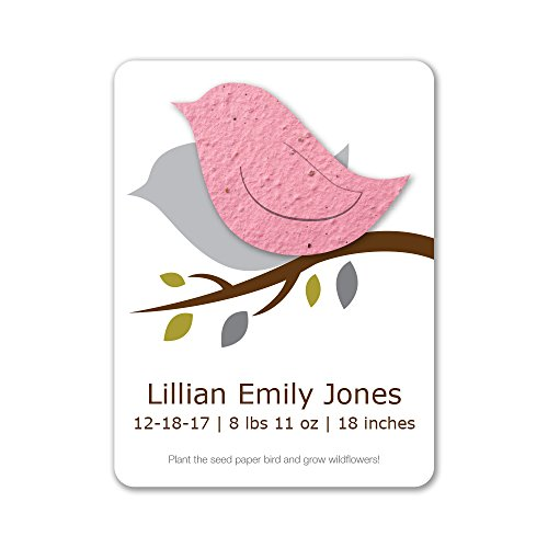 Bloomin Plantable Baby Bird Birth Announcement Favor with Seed Paper - Pink {25 Card Set}