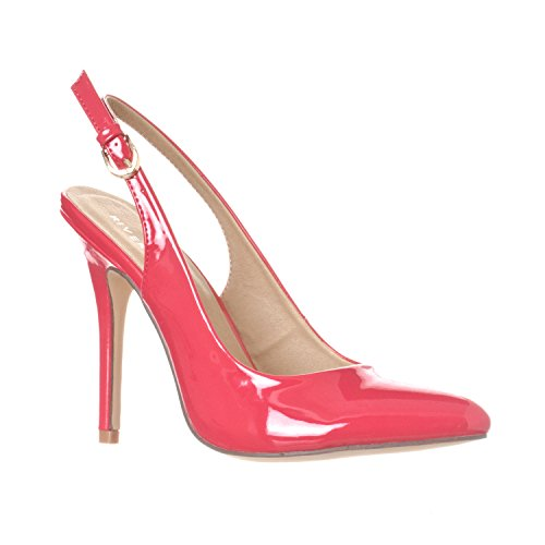 ucy Pointed-Toe, Sling Back Pump Stiletto Heels, Fuchsia Patent, 8 (Pink Patent Pointed Toe Heels)