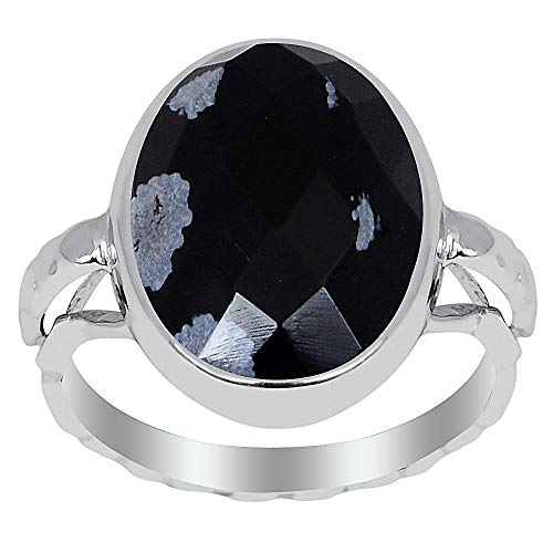 Orchid Jewelry 6.10 Ct Black Oval Snowflake Obsidian 925 Sterling Silver Ring for Women: Nickel Free Cute and Simple Birthday Gift for Mother and Sister: Ring Size-7