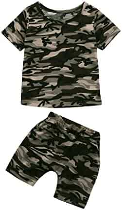 a4b9b82ad9898 Lavany Baby Clothes Set,2PC Kids Boys Girls Camo Tops Shorts Outfits for 1-