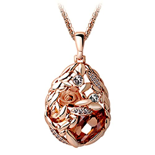 Latigerf Womens Rose Gold Plated Flower Teardrop Champagne Austrian Crystal Necklace Pendant