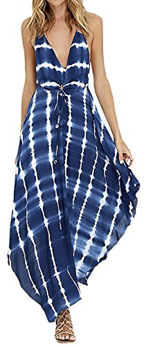 LUKYCILD Women Summer V Neck Spaghetti Strap Backless Tie Dye Maxi Dress,Blue,2/4(US ()