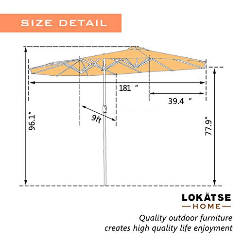 LOKATSE HOME 15 Ft Double Sided Outdoor Umbrella Rectangular Large with Crank for Patio Shade Outside Deck or Pool, Khaki
