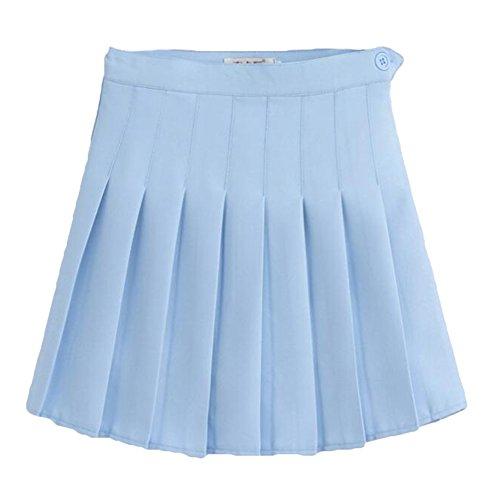 Haute Style School Jupe Bleu hibote Plisse Jupes Femmes Uniformes ciel Doux Preppy Mini Vintage Taille Jupe Filles 8pxRwxqC