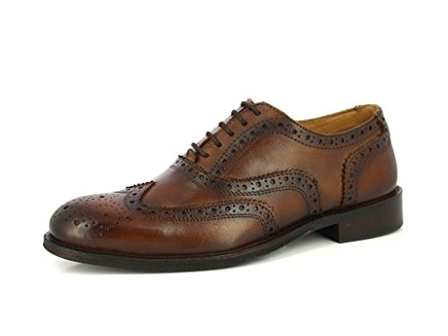 ALBERTO TORRESI MEN'S HANDMADE GENIUNE LEATHER CLASSIC LACE UP CLOSURE BROGUE DRESS OXFORD WISKY BROWN FORMAL SHOES,Dark Wisky,9 D(M) (Full Brogue)