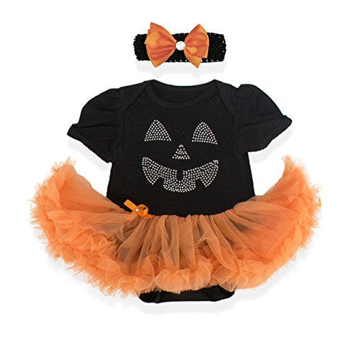 v28 Baby's All in 1 Fancy Dress Halloween Christmas Princess Party Romper Suits (L (6-12 Months), Pumpkin-Black) -