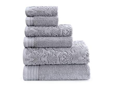 Wicker Park 600 GSM Ultra Soft Luxurious 6-Piece Towel Set (Platinum): 2 Bath Towels, 2 Hand Towels, 2 Washcloths, Long-Staple Combed Cotton, Spa Hotel Quality, Super Absorbent, Machine Washable (Park Wicker In)