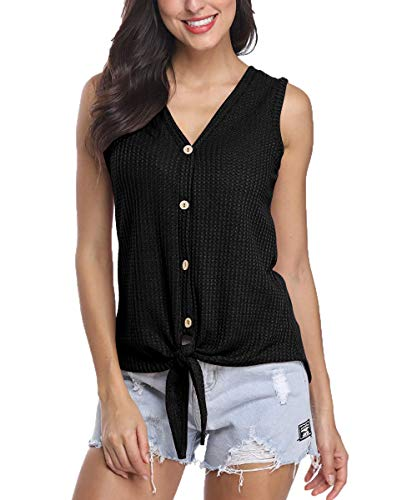(Jusfitsu Waffle Knit Shirt Women Tie Front Tops Sleeveless Button Down Blouses Black L)