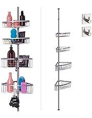 smartpeas Telescopisch doucheplank zonder boren – 4 manden – in grootte verstelbaar: 76 tot 280 cm – rubberen uiteinden – gepoedercoat staal in chroomlook – plus: 2 zelfklevende haken