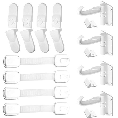 Ponwec Child Safety Cabinet Locks Baby Safety Locks Child Safety Latches Cabinets Drawer Lock Baby Proofing Locks No Drilling Needed Super Strong 3M Adhesive 3 Types Lock Combination (12 Pack)