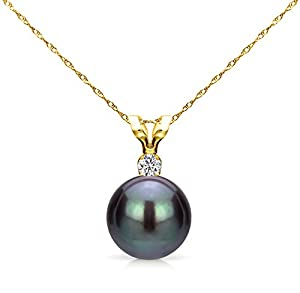 14K Yellow Gold Chain Necklace Black Freshwater Cultured Pearl Diamond Pendant 1/100 CTTW