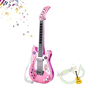 TWFRIC Kids Guitar, Kids Guitar for Girls, Electric Toy Guitar Music Instruments Party Favor for Kids, Birthday Gift for Girls Boys, Pink