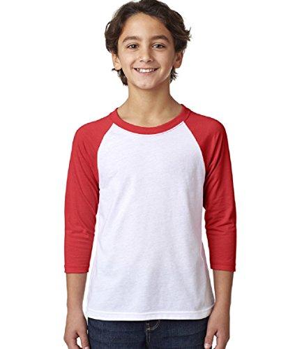 Next Level Big Boy's 3/4-Sleeve Rib-Knit T-Shirt, M, Red / White ()
