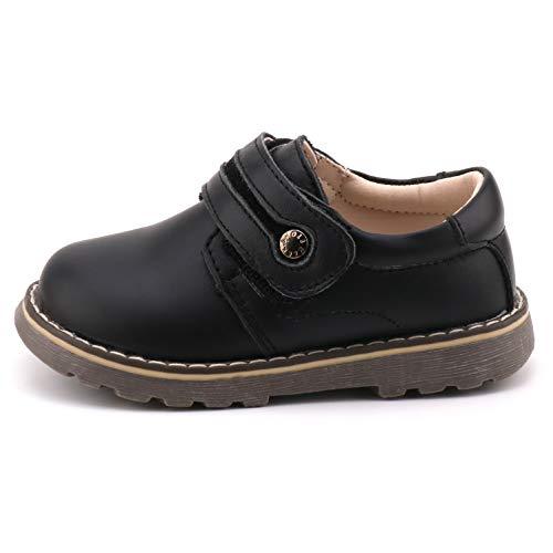 Femizee Toddler Boys Leather Loafers Comfort Uniform Oxford Dress Wedding Shoes, Black, 1327 CN25 by Femizee (Image #3)
