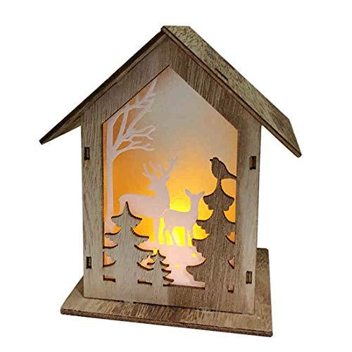 Christmas Table lamp Wooden led House Shape Forest Little Bird Creative Decorative Ornaments Wood Color Warm Light Battery 13916cm
