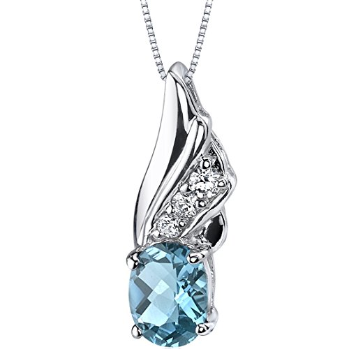 Graceful Angel 1.50 carats Oval Shape Sterling Silver Swiss Blue Topaz (1.50 Carats Oval Shape)