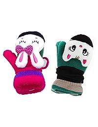 Kids Boy Girl Warm Winter Gloves -Sherpa Lined Knit Mittens Gloves (2 paris(1))