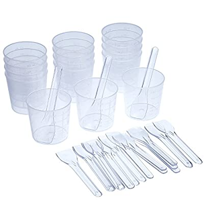 Shappy 15 Pieces 2 OZ Graduated Plastic Cups and 20 Pieces Plastic Applicators/ Sticks for Mixing Paint, Stain, Epoxy, Resin