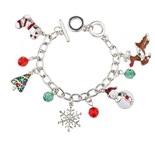 Snowman Reindeer Beaded Charm Bracelet