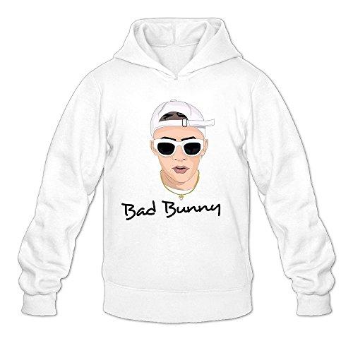 Leslie Studio LS Bad X Bunny Men's Pullover Logo Hoodie Unisex Custom Sweater Medium White