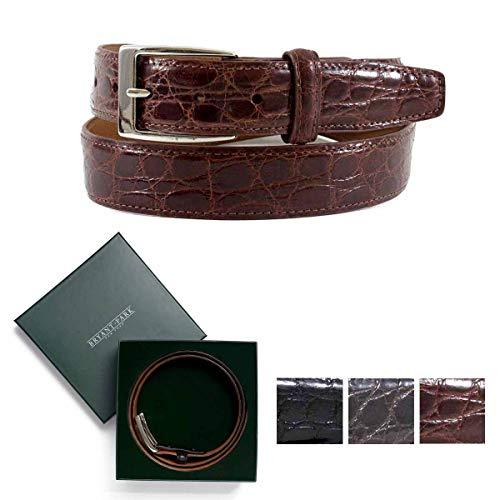 BRYANT PARK Crocodile Belt, Shiny Genuine Crocodile Sleek Dress Belt, 1.5