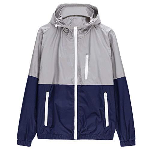 NIKAIRALEY Tops Men's Sportswear Waterproof Hooded Rain Jacket, Lightweight Packable Raincoat for Outdoor, Camping, Travel Gray