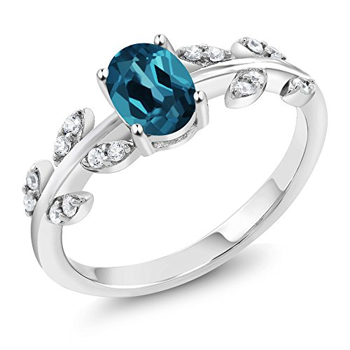 1.11 Ct Oval London Blue Topaz 925 Sterling Silver Olive Vine Ring (Available in size 5, 6, 7, 8, 9) (Set Birthstone Topaz)