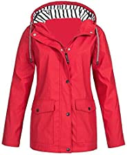 Womens Rain Coat Lightweight Hooded Long Raincoat Outdoor Warm Breathable Rain Jackets Windproof