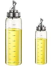 Liseng L dispenser fles, l pot om automatisch te openen en te sluiten, glazen kookschaal voor kokensaus/L, 500 ml + 300 ml