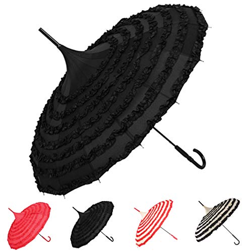 Outgeek Ladies Sunproof Umbrella Parasol Lace Flowers Pagoda-Shaped Victoria Style Long Handle (Black) -