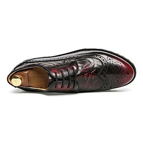 zmlsc Casual Hommes Chaussures en Cuir D'affaires Ronde Souple Point Point Ruban Saison Couleur Toile Sport Sandales Bottes Red 2bR5S