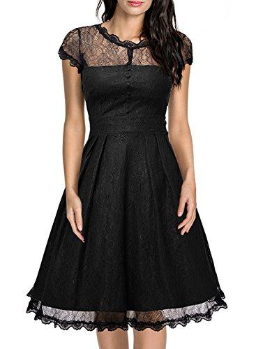 Miusol Women's Retro Floral Lace Cap Sleeve Vintage Swing Bridesmaid Dress, Black, (Cap Sleeve Vintage Cap)