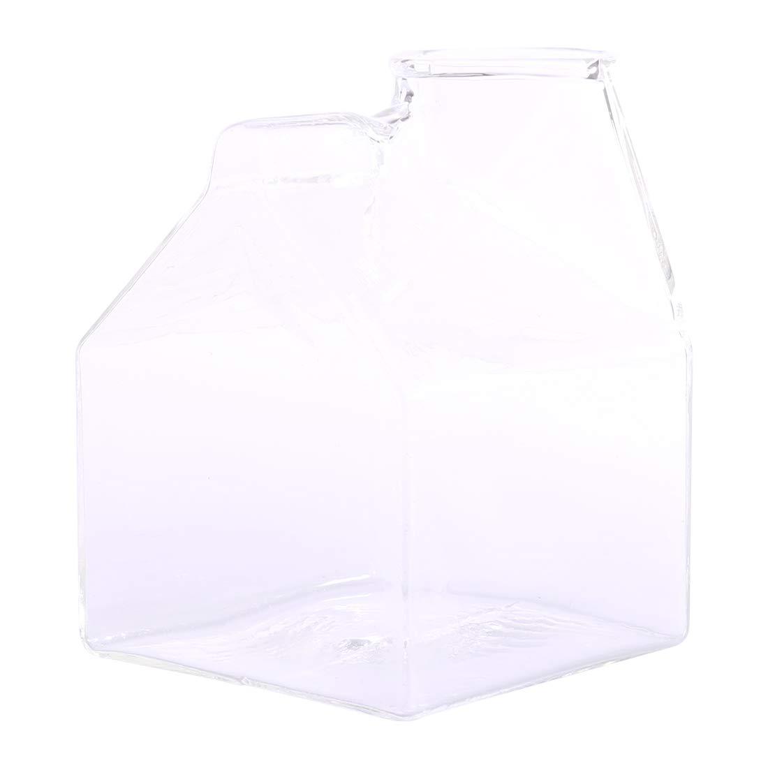 Cups, WOLFBUSH 200ML Half Pint Blown Glass Mini Milk Creamer Carton Container