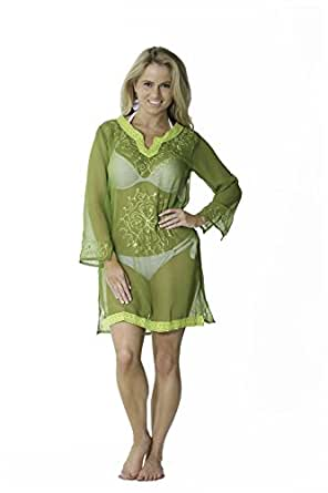 Copacabana Long Sleeve Embroidered Beach Tunic/Cover Up, Green S