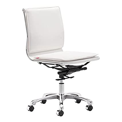 Zuo Aidan Plus White Armless Adjustable Office Chair