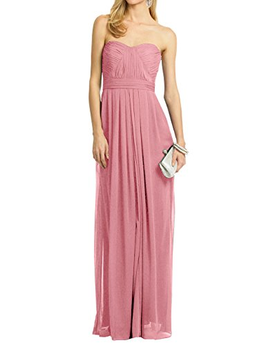 ModeC Beach Bridesmaid Dress Pleated Sleeveless Slim Fit Wedding Dancing Gown Dusty Rose US18W