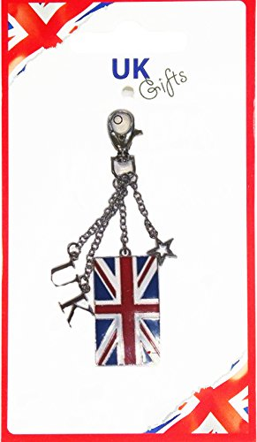 Dangling Bag (Union Jack Flag with Dangling UK Word and Star Souvenir Bag Charm)