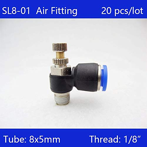 Ochoos 20Pcs 8mm Push in to Connect Fitting 1/8'' Thread Speed Flow Controller Air Valve SL8-01