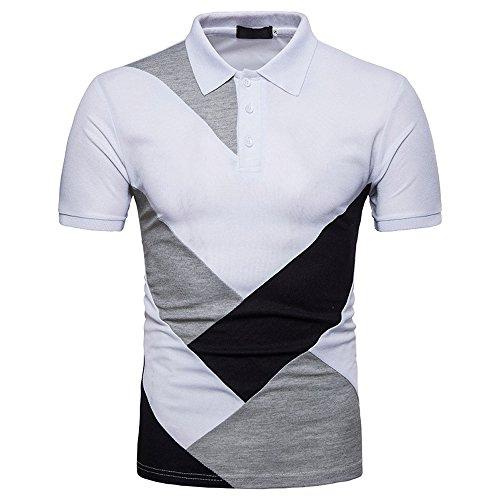 Manches Été Mode De Occasionnels Hommes Des Blanc Npradla shirt Chemises Hauts Printemps Patchwork Courtes Tops La À T Personnalité Slim Blouse 57SqxgZ