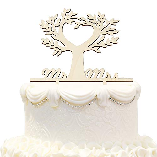 Hatcher lee Mr and Mrs Cake Topper Wood Love Tree Wedding Anniversary Cake Topper Funny Bride and Groom Cake Topper -