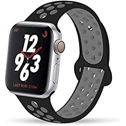 YC YANCH Greatou Compatible for Apple Watch Band 42mm,Soft Silicone Sport Band Replacement Wrist Strap Compatible for iWatch Apple Watch Series 3/2/1,Nike+,Sport,Edition,M/L,Black Coolgray