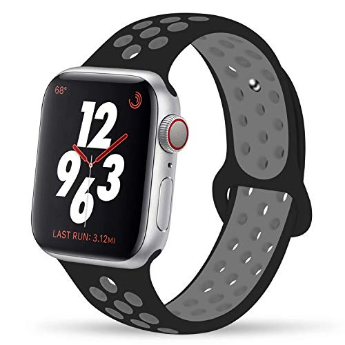 YC YANCH Greatou Compatible for Apple Watch Band 42mm,Soft Silicone Sport Band Replacement Wrist Strap Compatible for iWatch Apple Watch Series 3/2/1,Nike+,Sport,Edition,S/M,Black Coolgray