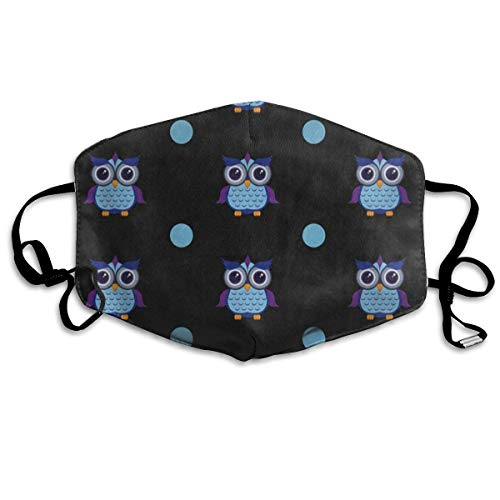 FunnyCustom Mouth Mask Owl Owlet Polka Dot Black Surgical Mask Winter Healthy Windproof for Unisex -