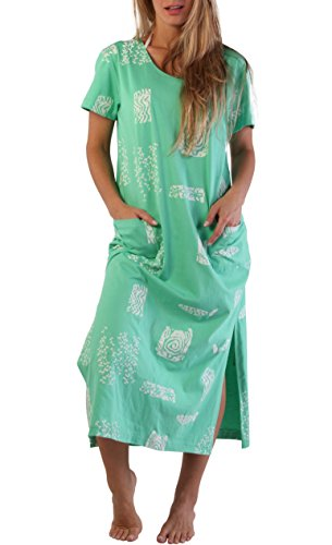 Ingear Beach Dress Long Cotton Fashion Casual Print Summer Sleeve Cover Up (3X Plus, Seafoam)