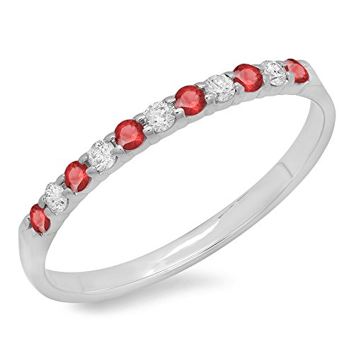 10K White Gold Round Ruby & White Diamond Anniversary Wedding Ring Stackable Band (Size 6)