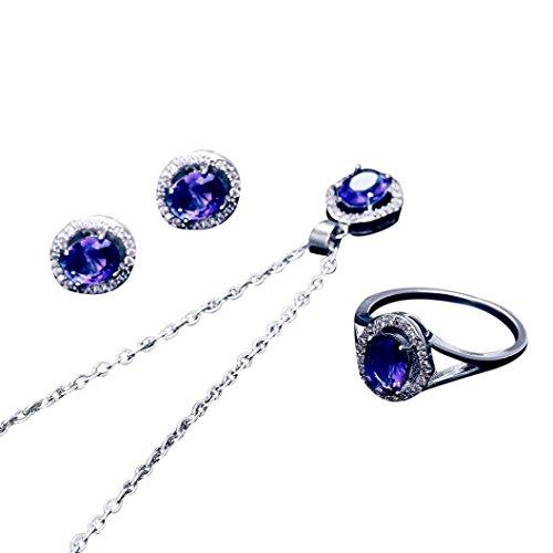 Celendi_Jewelry Set New Women's Zircon Pendant Ear Studs Ring Crystal Pendant Necklace (Purple)