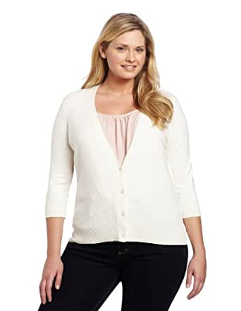 Pendleton Women's Plus-Size Can-do Cardigan Sweater, Ivory, 2X